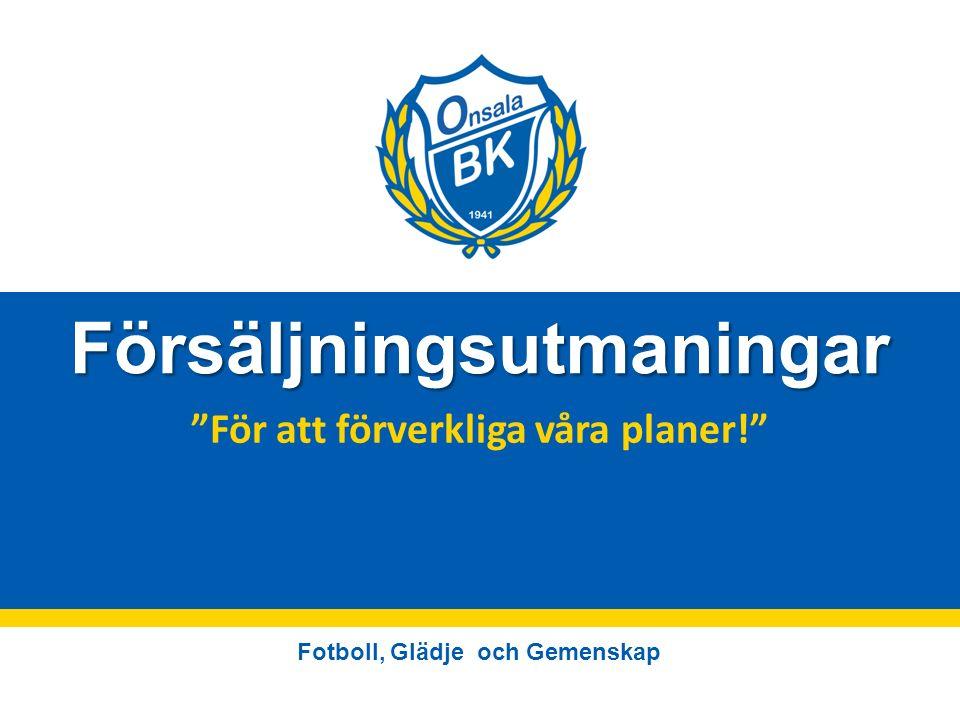 Fotboll, Glädje och Gemenskap Försäljningsutmaningar För att förverkliga våra planer!
