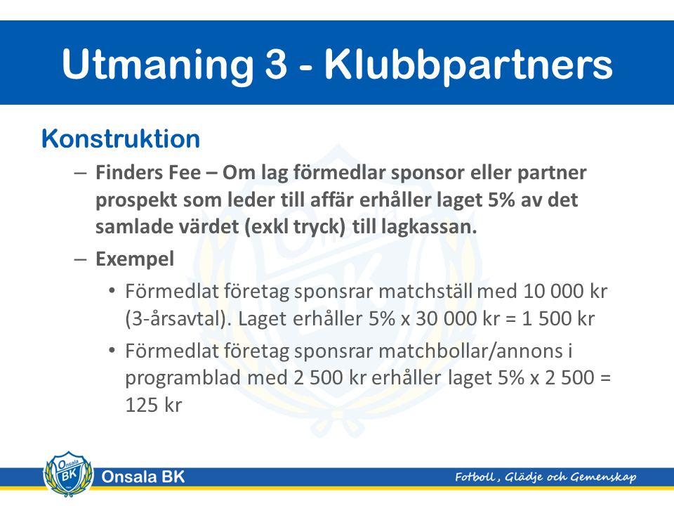 Konstruktion – Finders Fee – Om lag förmedlar sponsor eller partner prospekt som leder till affär erhåller laget 5% av det samlade värdet (exkl tryck) till lagkassan.