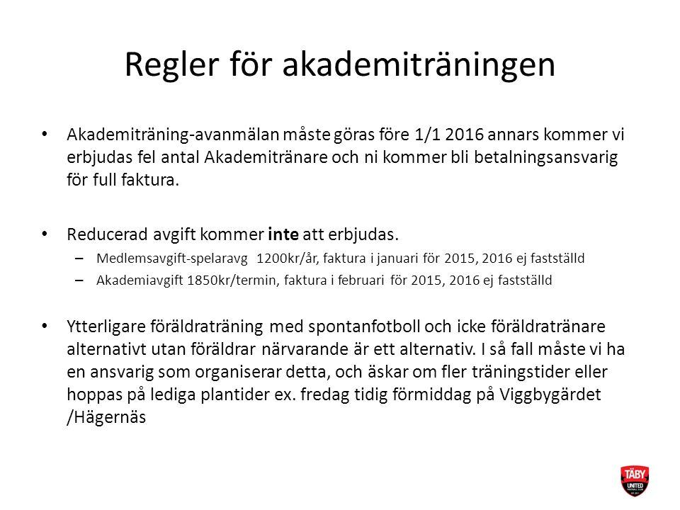 Regler för akademiträningen Akademiträning-avanmälan måste göras före 1/1 2016 annars kommer vi erbjudas fel antal Akademitränare och ni kommer bli betalningsansvarig för full faktura.