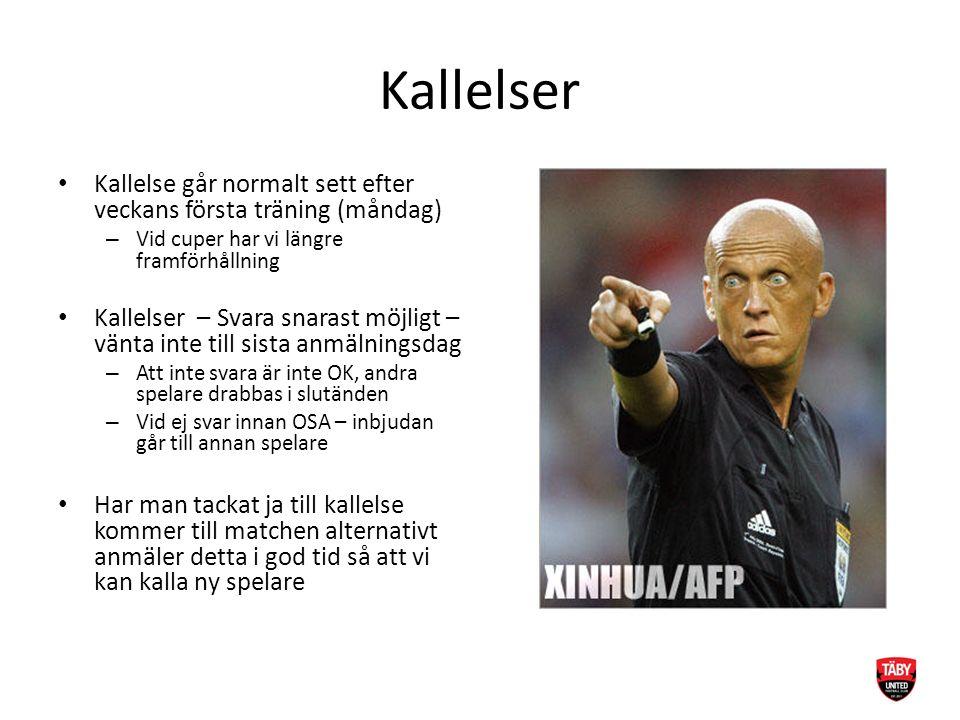 Kallelser Kallelse går normalt sett efter veckans första träning (måndag) – Vid cuper har vi längre framförhållning Kallelser – Svara snarast möjligt
