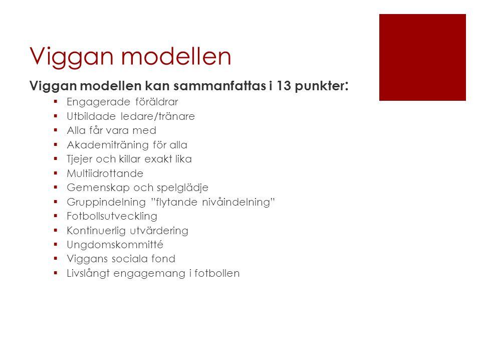 Viggan modellen Viggan modellen kan sammanfattas i 13 punkter :  Engagerade föräldrar  Utbildade ledare/tränare  Alla får vara med  Akademiträning