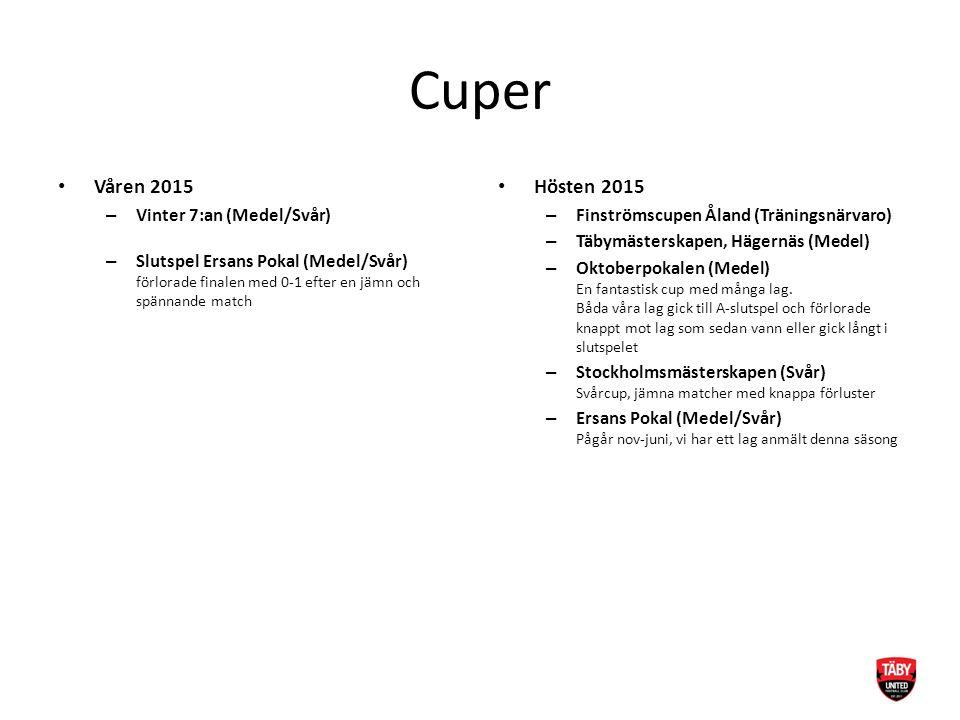 Cuper Våren 2015 – Vinter 7:an (Medel/Svår) – Slutspel Ersans Pokal (Medel/Svår) förlorade finalen med 0-1 efter en jämn och spännande match Hösten 20