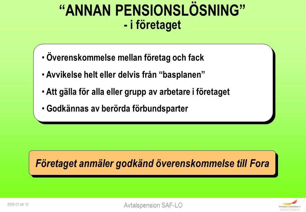 """Avtalspension SAF-LO 2006-01 sid 12 """"ANNAN PENSIONSLÖSNING"""" - i företaget Överenskommelse mellan företag och fack Avvikelse helt eller delvis från """"ba"""
