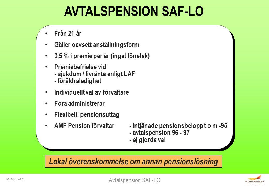 Avtalspension SAF-LO 2006-01 sid 2 AVTALSPENSION SAF-LO Från 21 år Gäller oavsett anställningsform 3,5 % i premie per år (inget lönetak) Premiebefriel