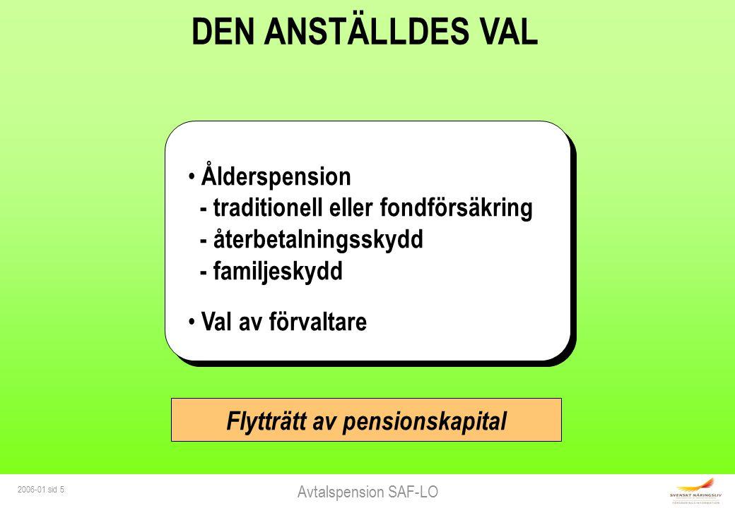 Avtalspension SAF-LO 2006-01 sid 5 DEN ANSTÄLLDES VAL Ålderspension - traditionell eller fondförsäkring - återbetalningsskydd - familjeskydd Val av fö