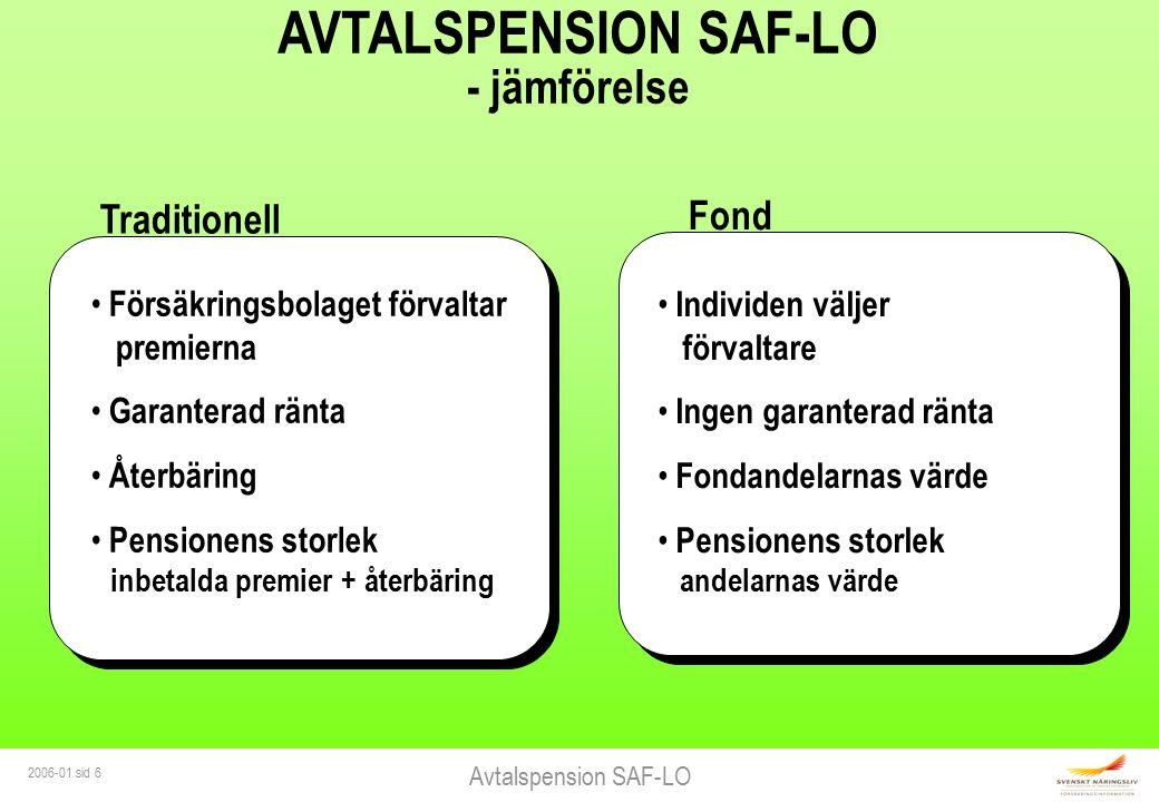Avtalspension SAF-LO 2006-01 sid 6 AVTALSPENSION SAF-LO - jämförelse Traditionell Försäkringsbolaget förvaltar premierna Garanterad ränta Återbäring P