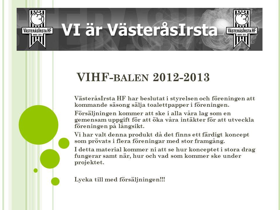 VIHF- BALEN 2012-2013 VästeråsIrsta HF har beslutat i styrelsen och föreningen att kommande säsong sälja toalettpapper i föreningen.