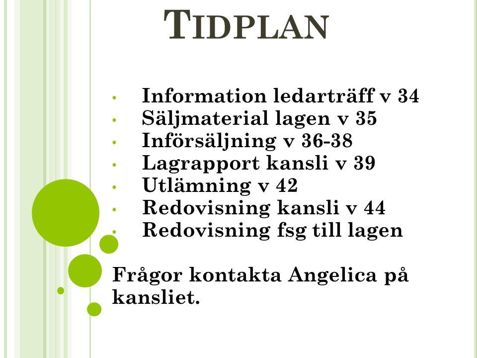 T IDPLAN Information ledarträff v 34 Säljmaterial lagen v 35 Införsäljning v 36-38 Lagrapport kansli v 39 Utlämning v 42 Redovisning kansli v 44 Redovisning fsg till lagen Frågor kontakta Angelica på kansliet.