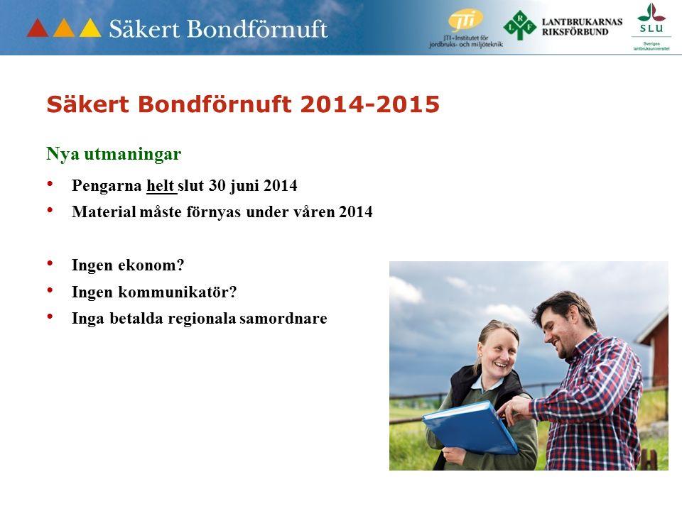 Säkert Bondförnuft 2014-2015 Nya utmaningar Pengarna helt slut 30 juni 2014 Material måste förnyas under våren 2014 Ingen ekonom.