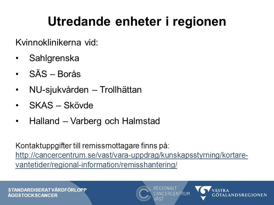 Utredande enheter i regionen Kvinnoklinikerna vid: Sahlgrenska SÄS – Borås NU-sjukvården – Trollhättan SKAS – Skövde Halland – Varberg och Halmstad Kontaktuppgifter till remissmottagare finns på: http://cancercentrum.se/vast/vara-uppdrag/kunskapsstyrning/kortare- vantetider/regional-information/remisshantering/ http://cancercentrum.se/vast/vara-uppdrag/kunskapsstyrning/kortare- vantetider/regional-information/remisshantering/ STANDARDISERAT VÅRDFÖRLOPP ÄGGSTOCKSCANCER
