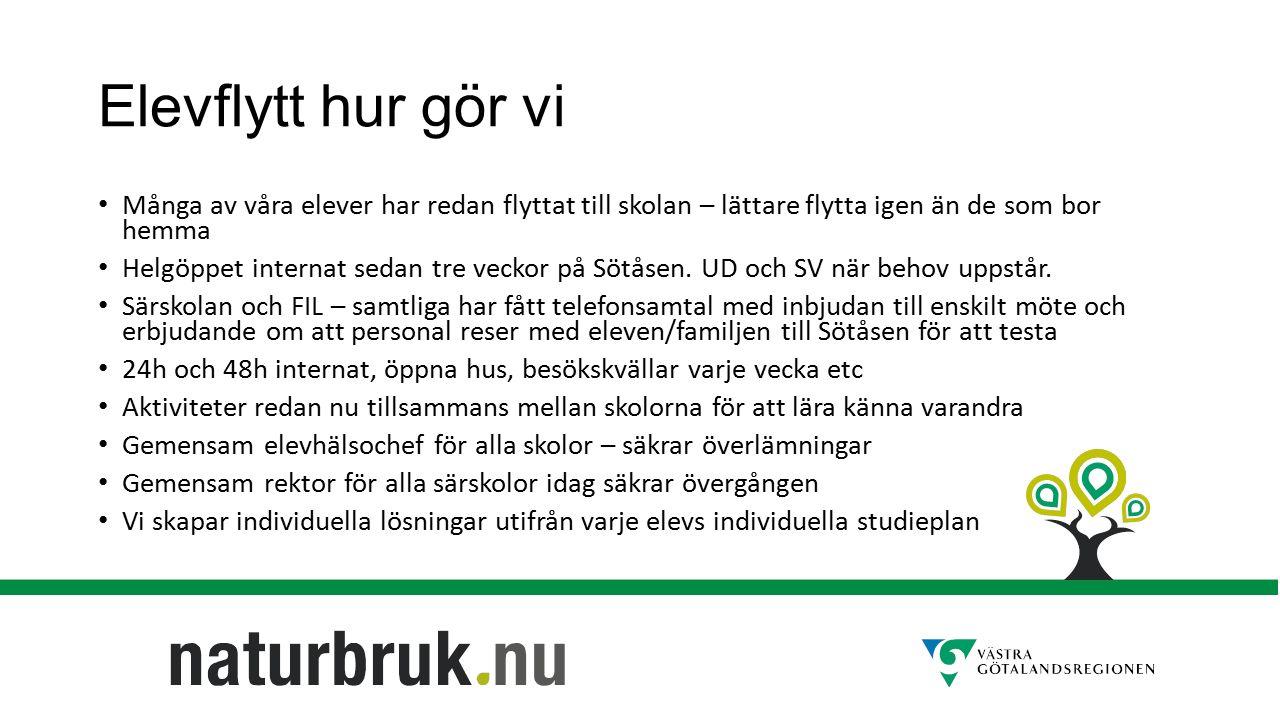 Elevflytt hur gör vi Många av våra elever har redan flyttat till skolan – lättare flytta igen än de som bor hemma Helgöppet internat sedan tre veckor på Sötåsen.