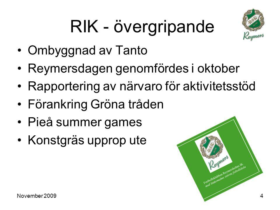 November 20094 RIK - övergripande Ombyggnad av Tanto Reymersdagen genomfördes i oktober Rapportering av närvaro för aktivitetsstöd Förankring Gröna tråden Pieå summer games Konstgräs upprop ute