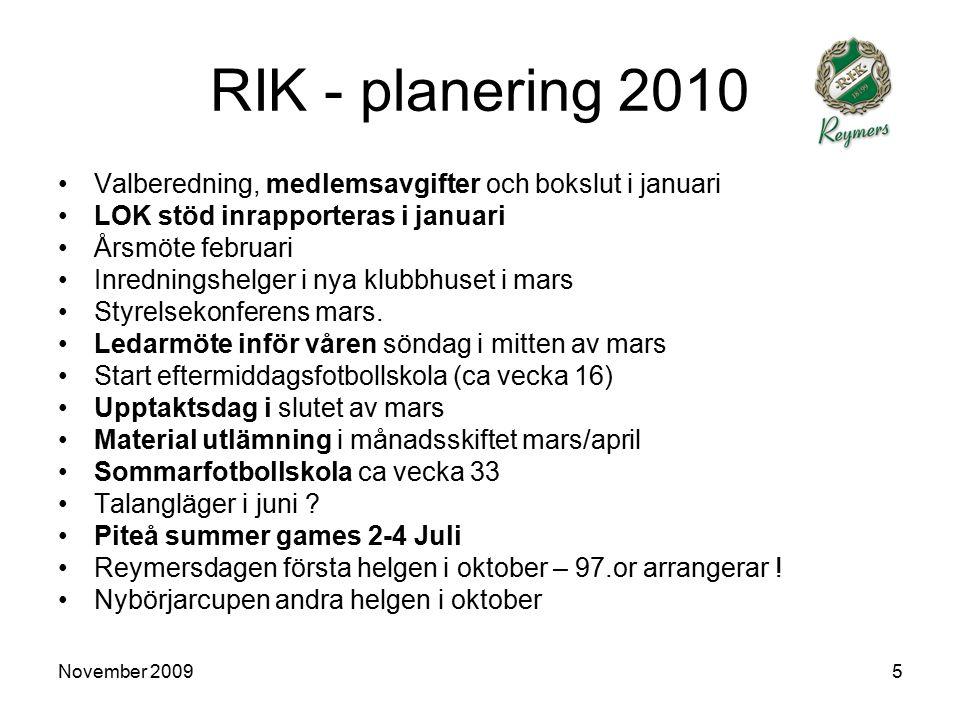 November 20095 RIK - planering 2010 Valberedning, medlemsavgifter och bokslut i januari LOK stöd inrapporteras i januari Årsmöte februari Inredningshelger i nya klubbhuset i mars Styrelsekonferens mars.