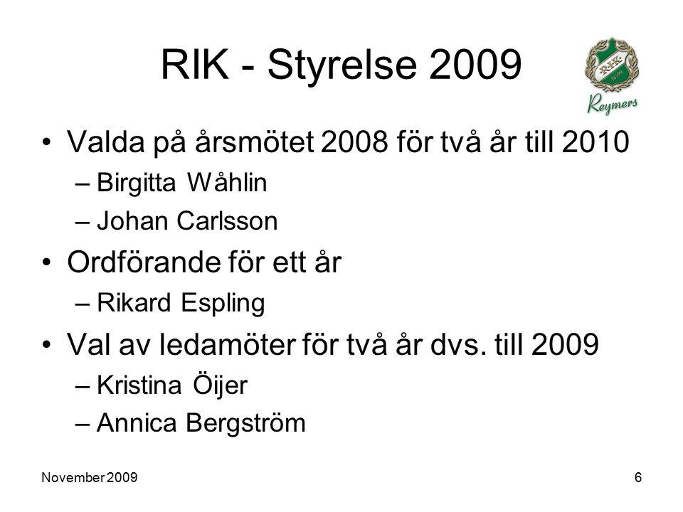 November 200917 RIK - Senior herr Bra resultat med tanke på omständigheter Svenska Cupen (0-5 mot Syrianska) Stockholm cup Samarbete med utvecklingslaget.