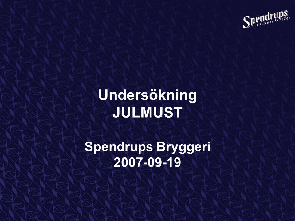 Undersökning JULMUST Spendrups Bryggeri 2007-09-19
