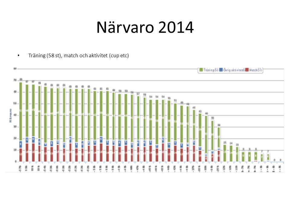 Närvaro 2014 Träning (58 st), match och aktivitet (cup etc)