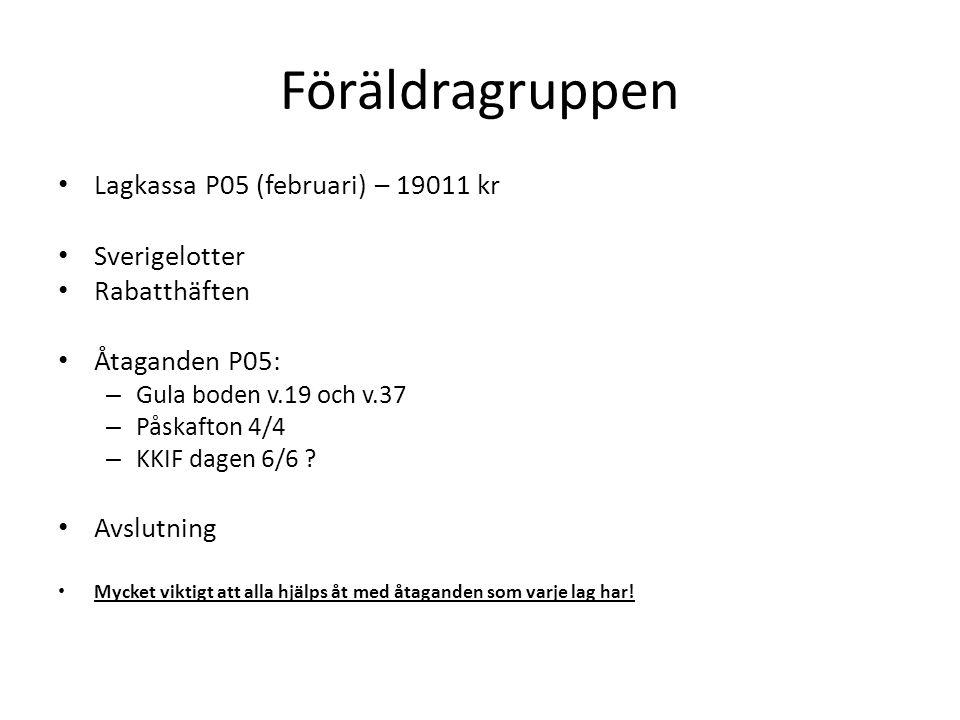 Föräldragruppen Lagkassa P05 (februari) – 19011 kr Sverigelotter Rabatthäften Åtaganden P05: – Gula boden v.19 och v.37 – Påskafton 4/4 – KKIF dagen 6/6 .