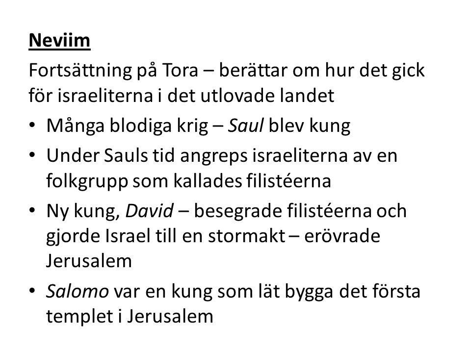 Neviim Fortsättning på Tora – berättar om hur det gick för israeliterna i det utlovade landet Många blodiga krig – Saul blev kung Under Sauls tid angreps israeliterna av en folkgrupp som kallades filistéerna Ny kung, David – besegrade filistéerna och gjorde Israel till en stormakt – erövrade Jerusalem Salomo var en kung som lät bygga det första templet i Jerusalem