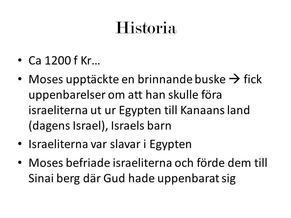 Historia Ca 1200 f Kr… Moses upptäckte en brinnande buske  fick uppenbarelser om att han skulle föra israeliterna ut ur Egypten till Kanaans land (dagens Israel), Israels barn Israeliterna var slavar i Egypten Moses befriade israeliterna och förde dem till Sinai berg där Gud hade uppenbarat sig