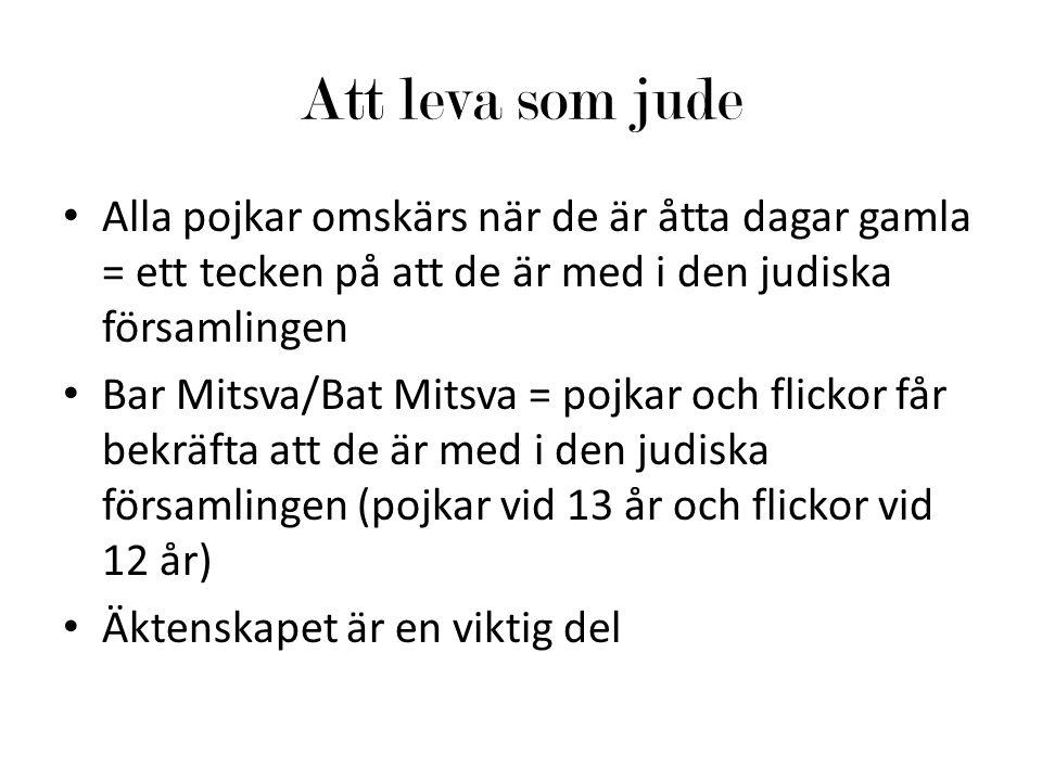 Att leva som jude Alla pojkar omskärs när de är åtta dagar gamla = ett tecken på att de är med i den judiska församlingen Bar Mitsva/Bat Mitsva = pojk