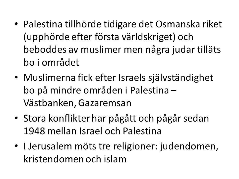 Palestina tillhörde tidigare det Osmanska riket (upphörde efter första världskriget) och beboddes av muslimer men några judar tilläts bo i området Muslimerna fick efter Israels självständighet bo på mindre områden i Palestina – Västbanken, Gazaremsan Stora konflikter har pågått och pågår sedan 1948 mellan Israel och Palestina I Jerusalem möts tre religioner: judendomen, kristendomen och islam