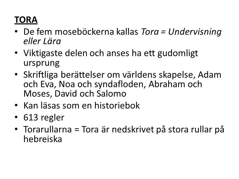 TORA De fem moseböckerna kallas Tora = Undervisning eller Lära Viktigaste delen och anses ha ett gudomligt ursprung Skriftliga berättelser om världens