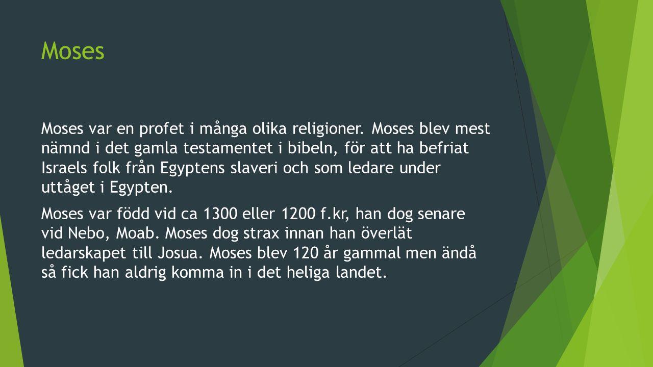 Moses Moses var en profet i många olika religioner.