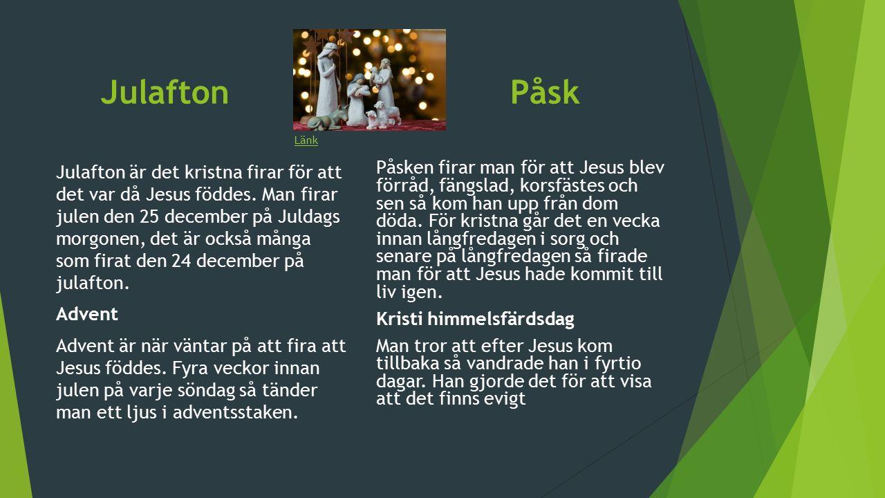 Julafton Påsk Julafton är det kristna firar för att det var då Jesus föddes.