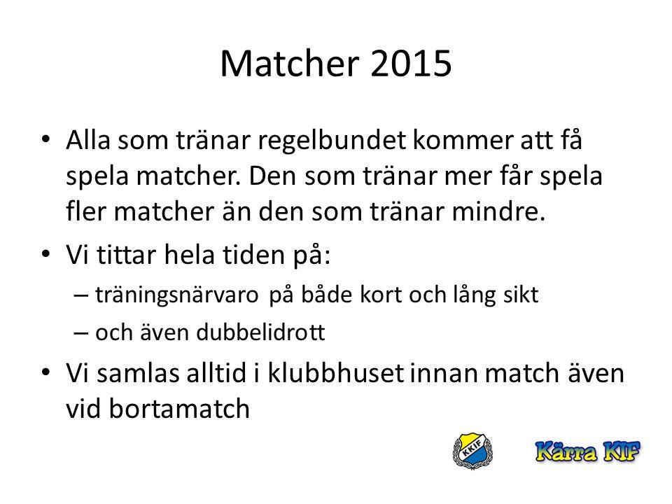 Matcher 2015 Alla som tränar regelbundet kommer att få spela matcher. Den som tränar mer får spela fler matcher än den som tränar mindre. Vi tittar he