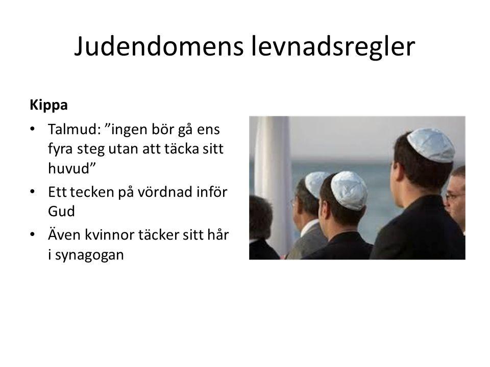 Judendomens levnadsregler Kippa Talmud: ingen bör gå ens fyra steg utan att täcka sitt huvud Ett tecken på vördnad inför Gud Även kvinnor täcker sitt hår i synagogan