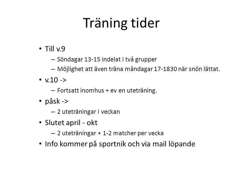 Träning tider Till v.9 – Söndagar 13-15 indelat i två grupper – Möjlighet att även träna måndagar 17-1830 när snön lättat.