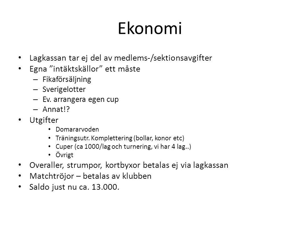 Ekonomi Lagkassan tar ej del av medlems-/sektionsavgifter Egna intäktskällor ett måste – Fikaförsäljning – Sverigelotter – Ev.
