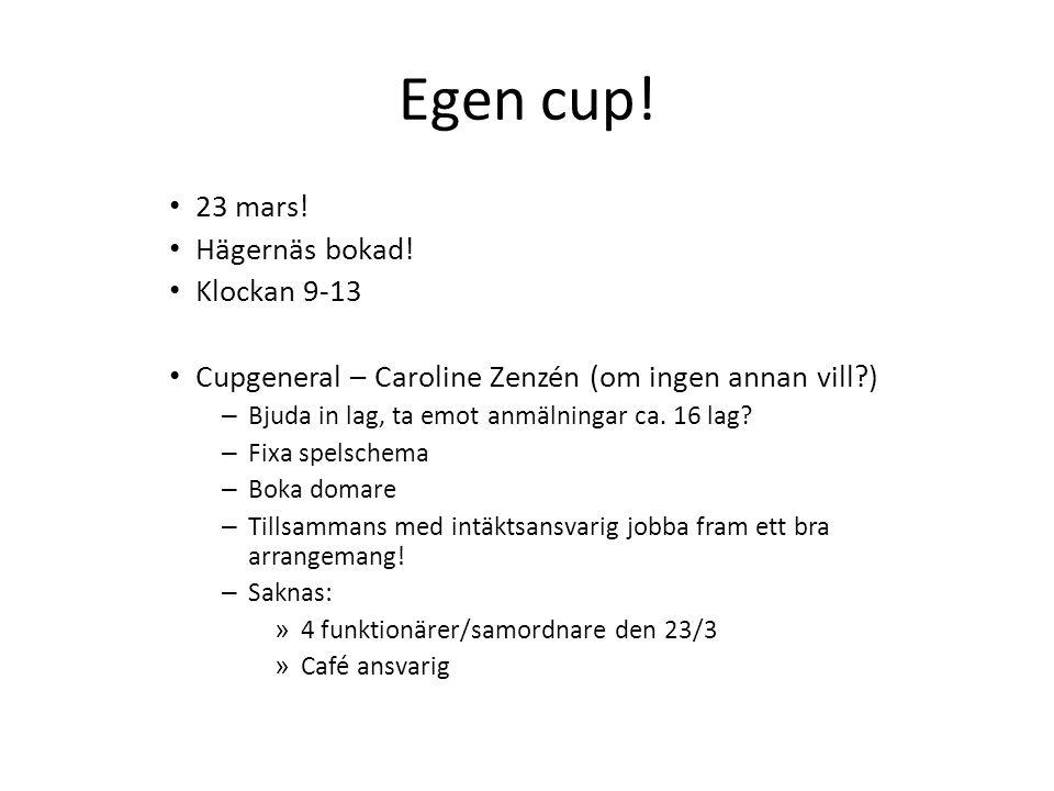 Egen cup. 23 mars. Hägernäs bokad.