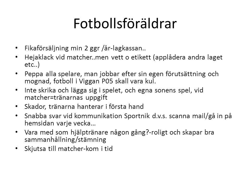 Fotbollsföräldrar Fikaförsäljning min 2 ggr /år-lagkassan..