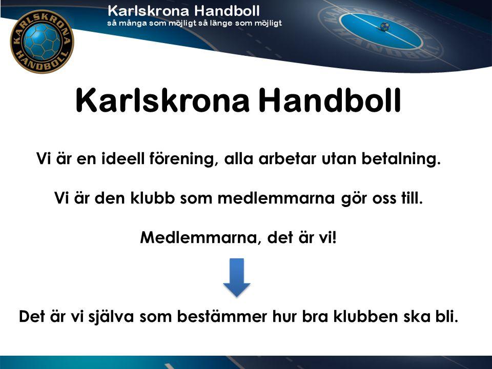 Karlskrona Handboll Vi är en ideell förening, alla arbetar utan betalning.