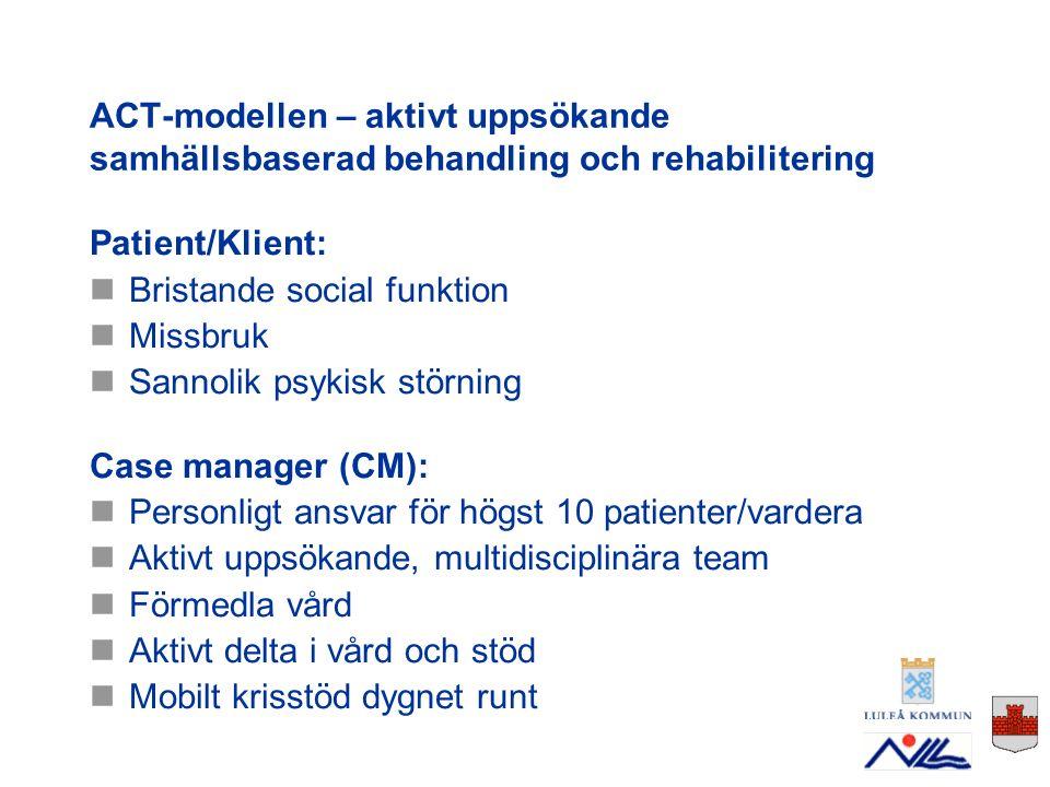 Nationell utvärdering, Mälardalens Högskola Norrbotten har kommit längst Tre utbildningsomgångar Case managers finns numera i 9 av 14 kommuner Små kommuner hjälper och stöttar varandra CM-läget 2009