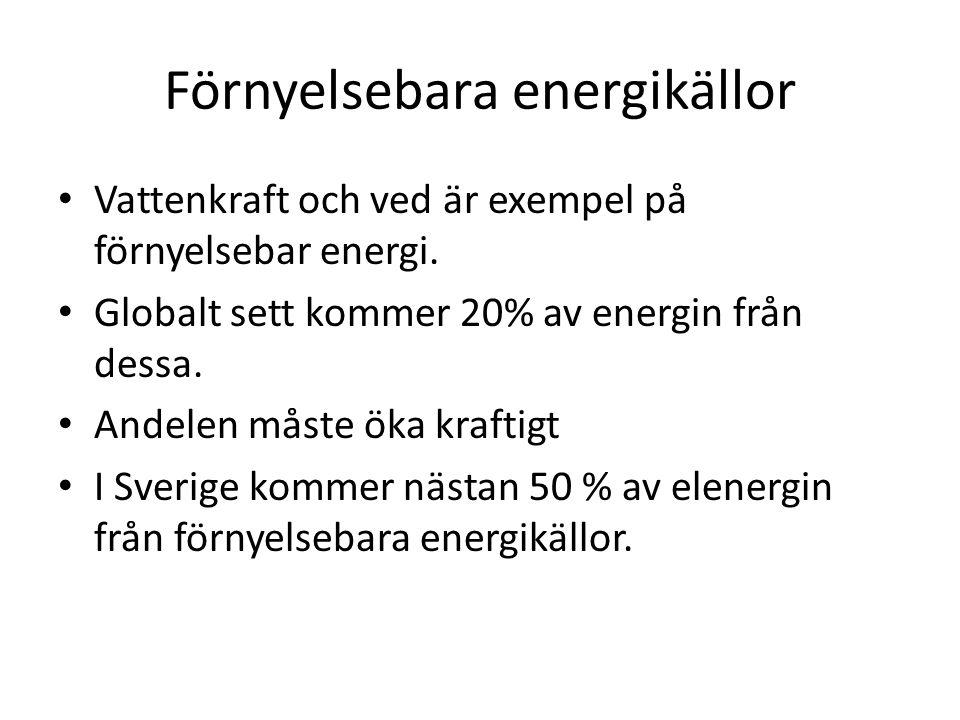 Förnyelsebara energikällor Vattenkraft och ved är exempel på förnyelsebar energi.