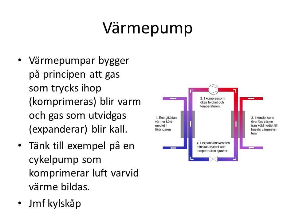Värmepump Värmepumpar bygger på principen att gas som trycks ihop (komprimeras) blir varm och gas som utvidgas (expanderar) blir kall.