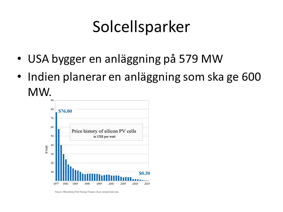 Solcellsparker USA bygger en anläggning på 579 MW Indien planerar en anläggning som ska ge 600 MW.