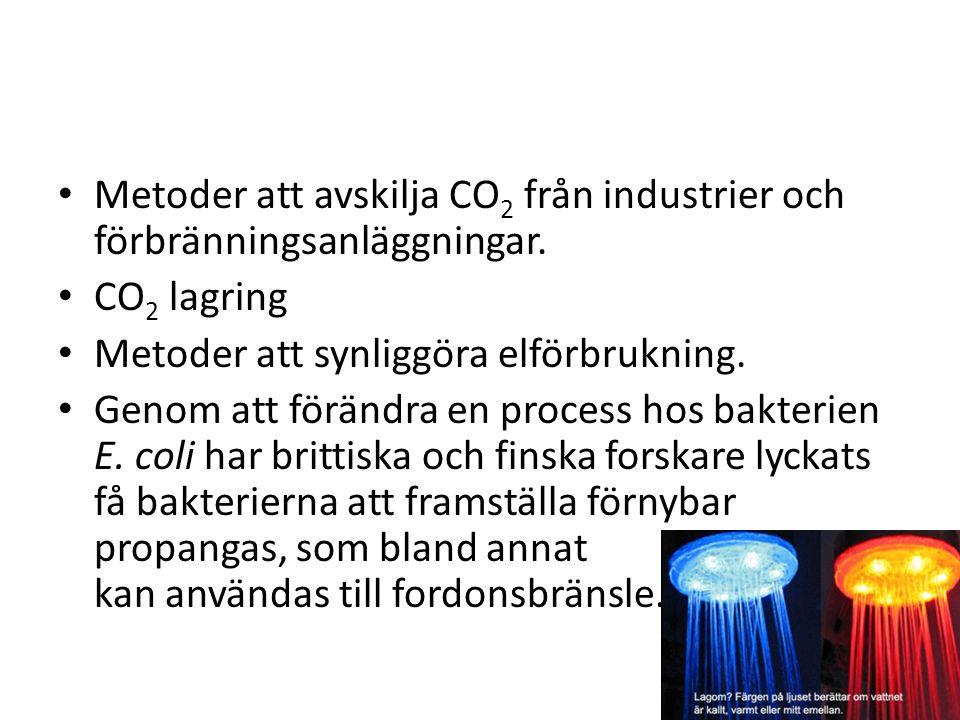 Metoder att avskilja CO 2 från industrier och förbränningsanläggningar.