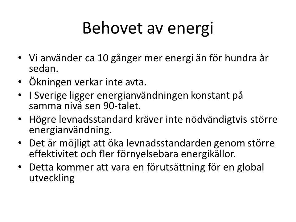 Behovet av energi Vi använder ca 10 gånger mer energi än för hundra år sedan.