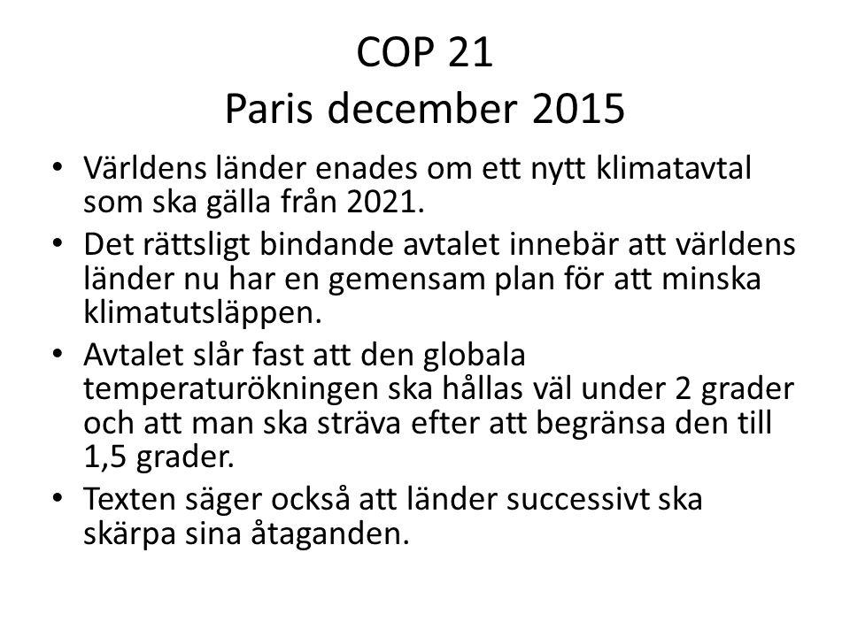 COP 21 Paris december 2015 Världens länder enades om ett nytt klimatavtal som ska gälla från 2021.