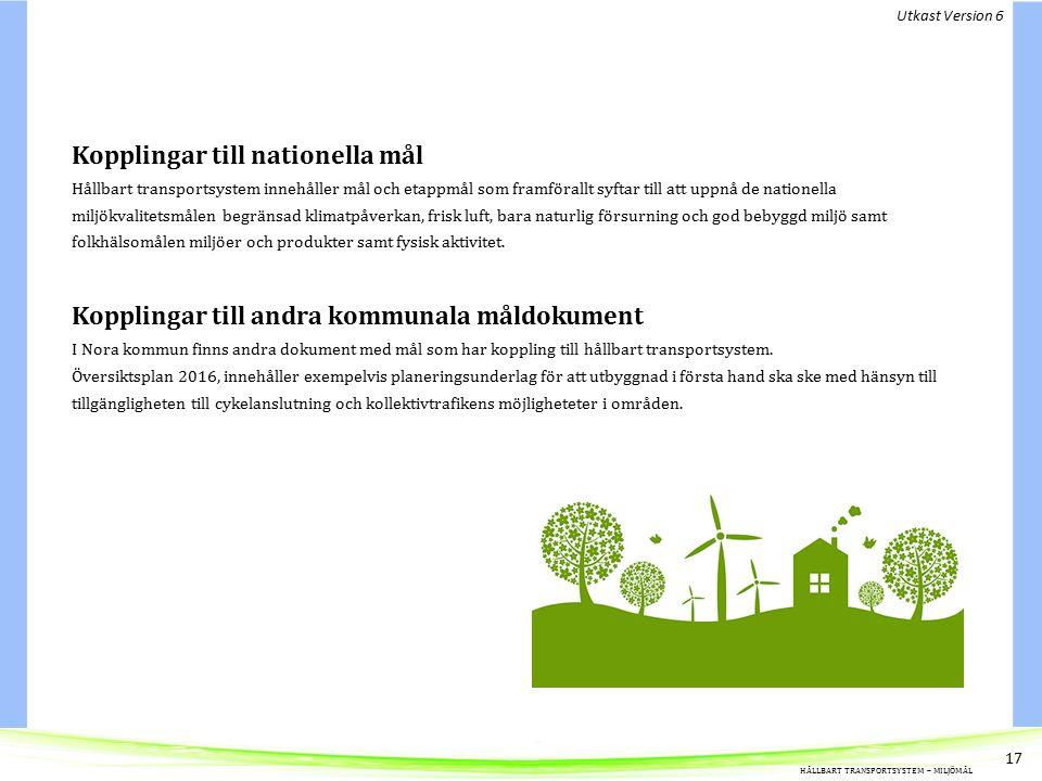 Kopplingar till nationella mål Hållbart transportsystem innehåller mål och etappmål som framförallt syftar till att uppnå de nationella miljökvalitetsmålen begränsad klimatpåverkan, frisk luft, bara naturlig försurning och god bebyggd miljö samt folkhälsomålen miljöer och produkter samt fysisk aktivitet.