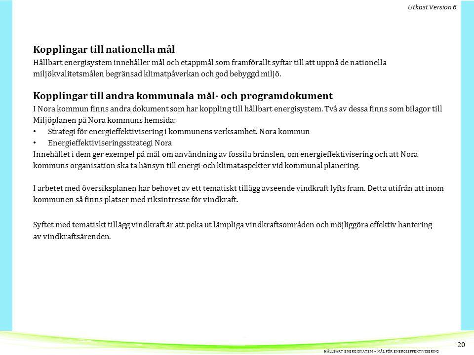Kopplingar till nationella mål Hållbart energisystem innehåller mål och etappmål som framförallt syftar till att uppnå de nationella miljökvalitetsmålen begränsad klimatpåverkan och god bebyggd miljö.
