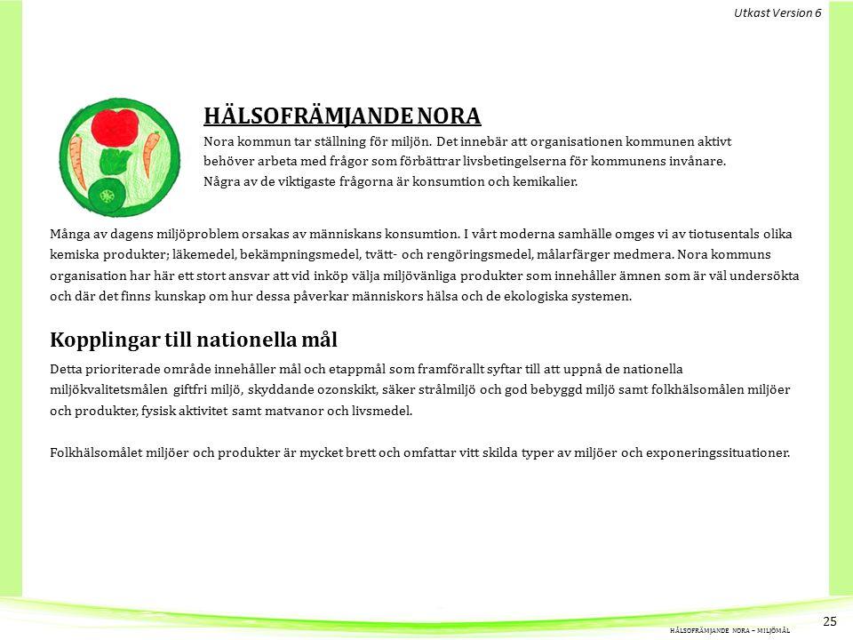 HÄLSOFRÄMJANDE NORA Nora kommun tar ställning för miljön.