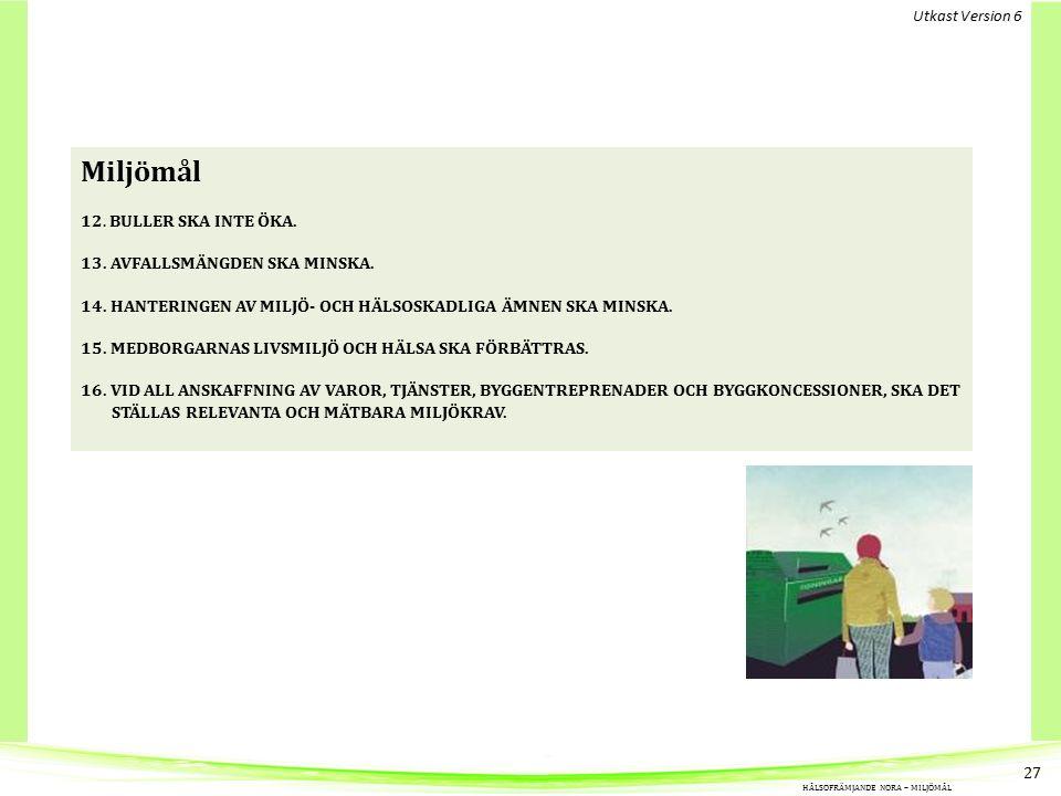Miljömål 12.BULLER SKA INTE ÖKA. 13. AVFALLSMÄNGDEN SKA MINSKA.