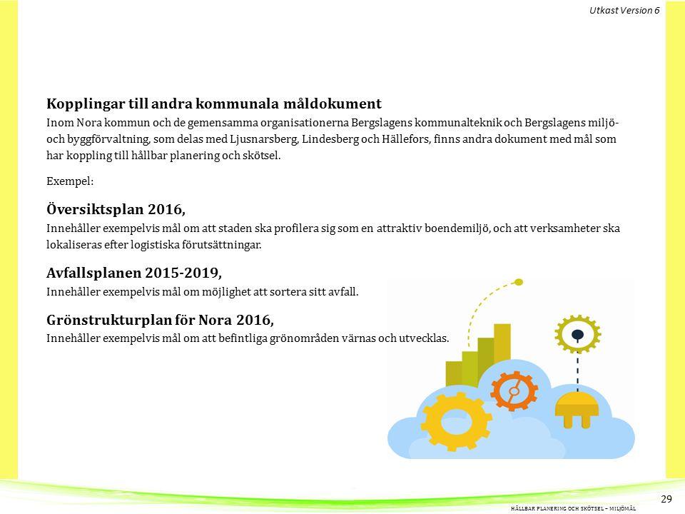Kopplingar till andra kommunala måldokument Inom Nora kommun och de gemensamma organisationerna Bergslagens kommunalteknik och Bergslagens miljö- och byggförvaltning, som delas med Ljusnarsberg, Lindesberg och Hällefors, finns andra dokument med mål som har koppling till hållbar planering och skötsel.