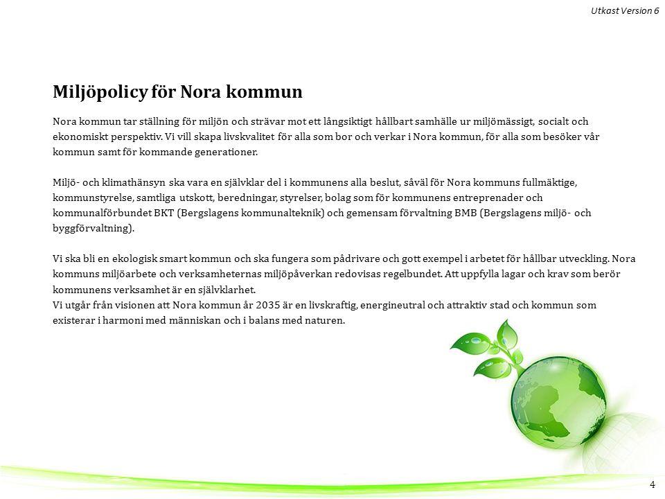 Miljöpolicy för Nora kommun Nora kommun tar ställning för miljön och strävar mot ett långsiktigt hållbart samhälle ur miljömässigt, socialt och ekonomiskt perspektiv.
