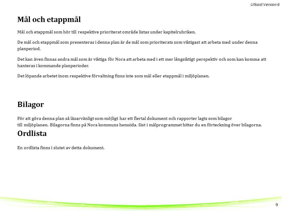 Mål och etappmål Mål och etappmål som hör till respektive prioriterat område listas under kapitelrubriken.