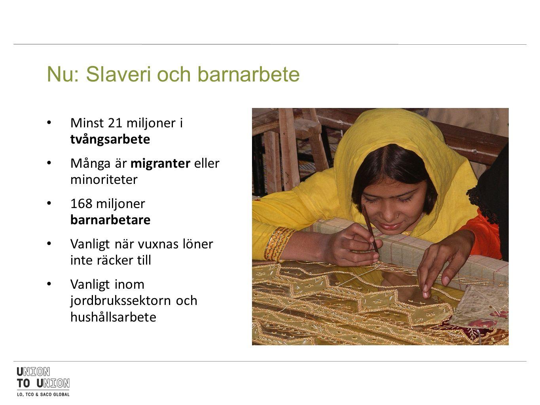 Nu: Slaveri och barnarbete Minst 21 miljoner i tvångsarbete Många är migranter eller minoriteter 168 miljoner barnarbetare Vanligt när vuxnas löner inte räcker till Vanligt inom jordbrukssektorn och hushållsarbete